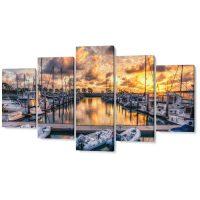 Falikép Kikötő Vitorlások Hajók Csónakok Többrészes Vászonkép (5 Részes)