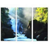 Falikép Vízesés Folyó Erdőben Napsugarak Többrészes Vászonkép (3 Részes)