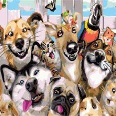 Kutyák Kifestős, Számozott Színezős Vászonkép Falra, Ecsettel és Festékkel